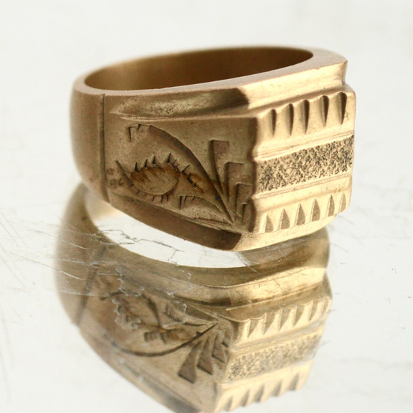 Other - Solid Mens Heavy Brass Etched Ring Size 10.5 Mans